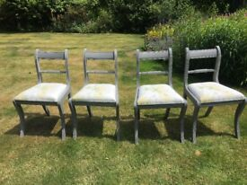 Set of Four Hand Painted Vintage Shabby Chic Chairs with Laura Ashley Fabric