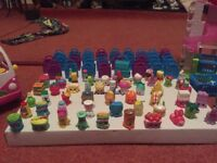 Shopkins figures (over 50), ice cream can and shop