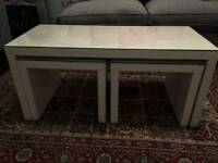 Set of 3 White Gloss Tables