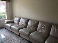 Used large L-Shape White leather sofa