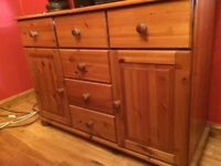 """Pine Sideboard in good condition 6 drawers and 2 cupboards 46"""" x 17"""" deep. Buyer collects."""