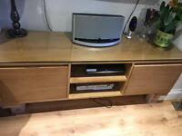 TV trolley with wood and glass top