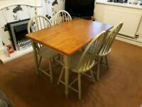 Table and 4 chairs - shabby chic - Can deliver