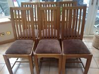 Oak Dining Room Chairs x 6