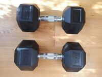 Hexagonal 15KG Rubber weights almost unused