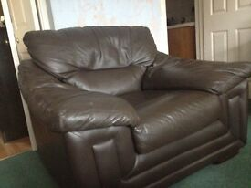 Brown Leather Armchair& Footstool