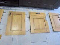 Large collection solid oak kitchen cupboard doors handles hinges