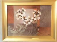Golden artwork flower wall painting canvas MINT condition