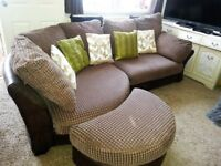DFS DARK BROWN CURVED CORNER SOFA & FOOTSTOOL WITH DELIVERY.
