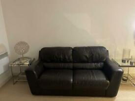 Full leather brown 3 seater sofa
