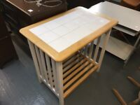 BUTCHERS BLOCK WITH TILED TOP