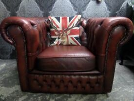 Stunning Chesterfield Leather Oxblood Red Club Arm Chair Low Back - UK Delivery