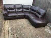 Brown leather curved corner sofa