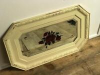 Vintage Heavy Plate Glass Bevelled Mirror in Painted Oak frame with Red Rose