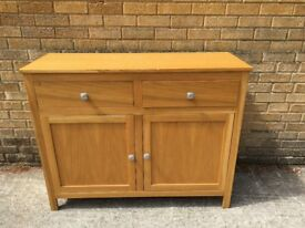 Oak Compact Sideboard With Two Drawers And Two Cupboards