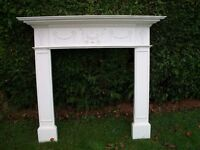 Fire Surround Wood with Carvings on-(White) With Hearth also