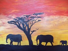roaming elephants size 100cmx70cmx4cm oil on canvas