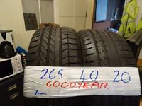 matching pair of 265 40 20 gudyears £100 pair supp & fitted (loads more av} 275x40x20 OPEN SUN 4PM