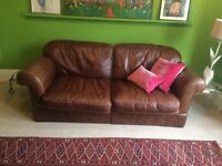 Laura Ashley Antique Leather 2.5/3 seater Winchester Sofa, (cash on collection only.)