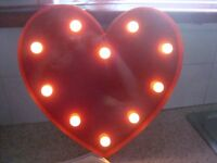 LED Light Up Red Heart Sign x 2 - Ideal for Weddings/Parties