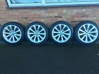 "BMW geniune 17"" 285 alloy wheels with run flat tyres alloys 1 3 series e90"