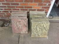 19 mixed textured paving slabs, 450mm squared