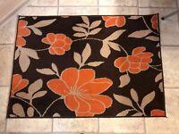 ORANGE FLOWER RUG 96 X 136 CM