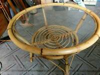Retro Vintage Bamboo table with glass top