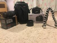 Canon 1100D camera with accessories