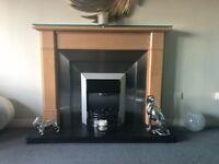 Solid maple wood fireplace - surround & stainless steel insert