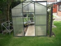 6 X 8 Greenhouse Free. Some plastc panels damaged. You dismantle and collecy