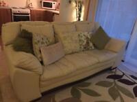 Dfs Cream leather sofa
