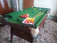SOLD Snooker Table with cues, score rack and balls inc...