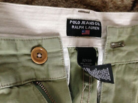 MENS RALPH LAUREN GREEN ARMY STYLE TROUSERS