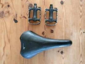 Bike pedals and saddle for race bike road bike mountain bike