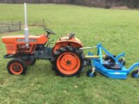 Kubota L1501 2WD Compact Tractor with New 4ft Finishing Mower, 680 Hours