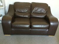 Sofa, 2 seater, chocolate brown, good condition