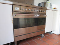 Britannia Dual Fuel Twin Oven with matching extractor and stainless steel splashback.