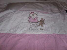"Cot Bumper & Quilt Set - £6 - ""I Love My Baby"""