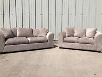 Grey/silver 3 + 2 seater sofas (SAME DAY DELIVERY AVAILABLE)