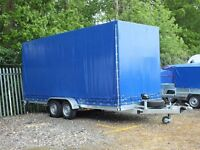 Trailer/car transporter, braked, 18ft with canopy