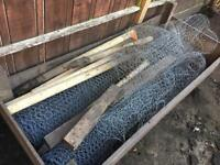 Chicken wire fencing and stakes