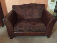 Two seated leather sofa and Two arm chairs set just for £175