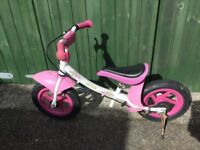 Pink kettler balance bike great condition