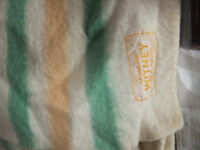 Witney Blanket, vintage 1950s Cream woolblend with Gold and Green Stripes, needs some TLC