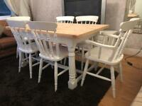 Stunning 5ft Shabby Chic Chunky Farmhouse Pine Table and 6 Lovely Chairs