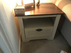 Cream and walnut effect side table /lamp table