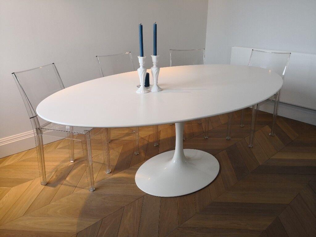 2f22374a0e0c Knoll Saarinen Tulip oval table white original.