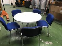 Round White Meeting Room Table & 5 Blue Meeting Chairs