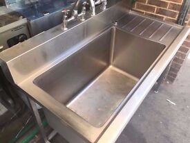 LARGE CATERING SINGLE SINK COMMERCIAL UNIT MACHINE DINER CAFETERIA SHOP TAKEAWAY CANTEEN KITCHEN